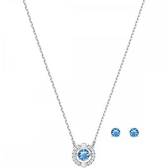 Swarovski spumante Dance Rhodium placat cu rodiu & albastru de cristal rotund colier & cercel Set