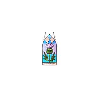Islandcraft Scottish Thistle Gothic Stained Glass 20cm