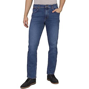 Wrangler Mens Texas Slim Fit Mid Wash Casual Denim Jeans - Game On Blue
