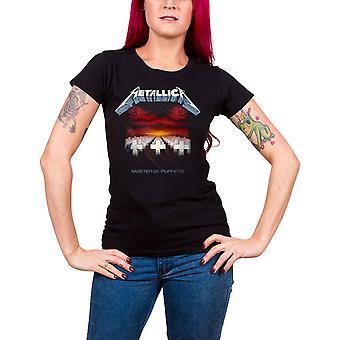 Metallica T Shirt Master Of Puppets Tracks nieuwe officiële Dames Skinny Fit Black