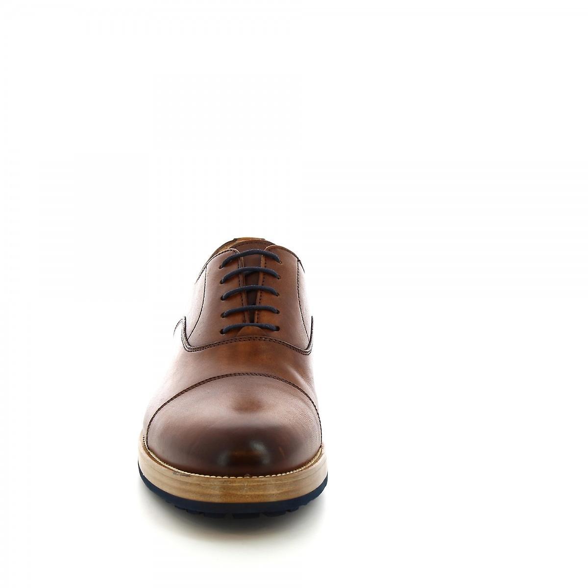 Leonardo Shoes Chaussures Men-apos;s chaussures à lacets chics faites à la main en cuir de veau tan
