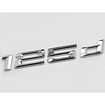Silver Chrome BMW 125d Car Model Rear Boot Number Letter Sticker Decal Badge Emblem For 1 Series E81 E82 E87 E88 F20 F21 F52 F40