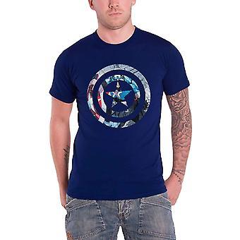 كابتن أمريكا تي شيرت الأزرق الأعجوبة كاريكاتير درع ضرب الرجال الرسمية