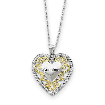 Polished Gift Boxed Spring Ring Rhodium plated finish Silver Accent gold plating Love Heart Necklace 18 Inch Jewelry Gif