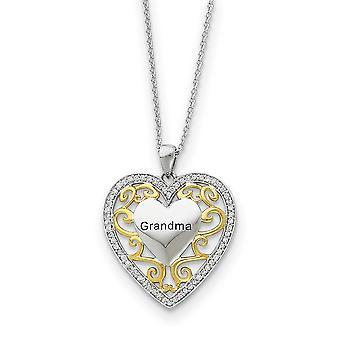 Regalo pulido en caja anillo de primavera Rodia dotada acabado plata acento oro chapado amor corazón collar 18 pulgadas joyería Gif