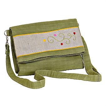 Madaraff Hand Embroidered Cotton Shoulder/Cross Body/ Clutch  Bag  - Khaki