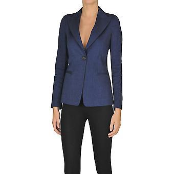 Kiltie Ezgl187022 Dames's Blue Linen Blazer