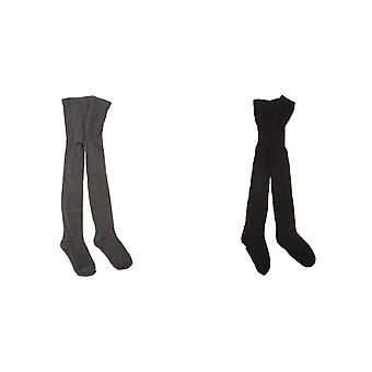 Childrens/Kids Girls Plain Cotton Rich School Tights (2 Pack)
