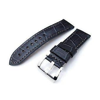 Strapcode crocodile grain watch strap 24mm crococalf (croco grain) matte grey watch strap with grey stitches, polished screw-in buckle