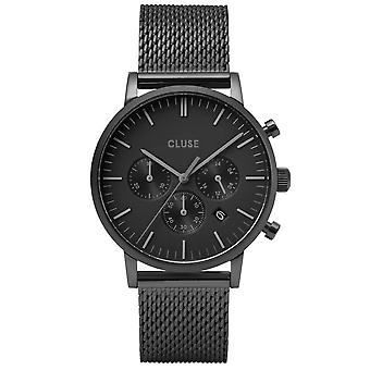 Cluse Watches Cw0101502007 Aravis Chrono Black Mesh Men's Watch