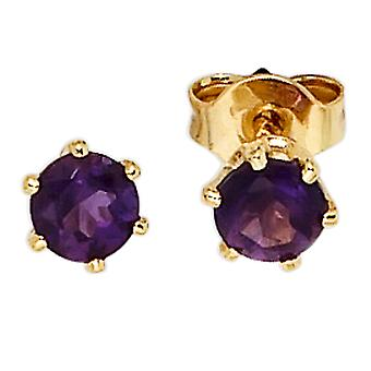 Studs round 585 gold yellow gold 2 amethyst purple violet earrings