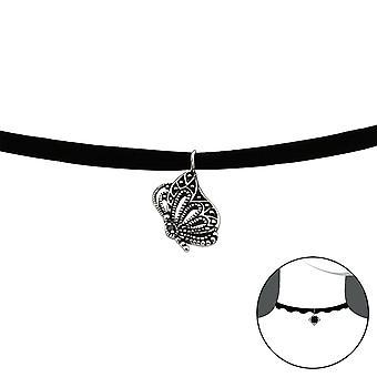 Butterfly - 925 Sterling Silver + Velvet Chokers - W30655x