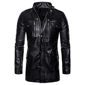 Cloudstyle Men's Faux Leather Overcoat Fashion Solid Long Outwear