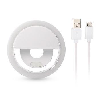 Univerzální selfie lampa/kroužek s odlišnými světelnými režimy-bílá