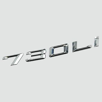 Silver Chrome 730Li Car Model Rear Boot Number Letter Sticker Decal Badge Emblem For 7 Series