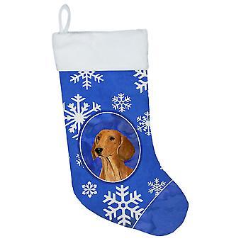 Carolineøerne skatte SS4625-CS gravhund vinter snefnug Christmas strømpe SS