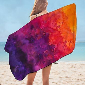 Dark Watercolor Smash Art Microfiber Beach Towel
