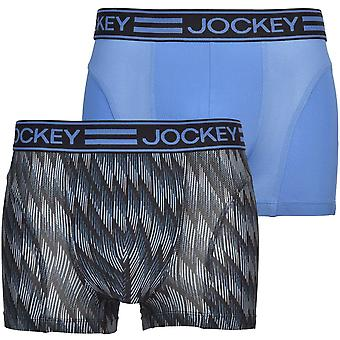 Jockey 2-Pack Microfibre Active Boxer Trunks, Blue/grey