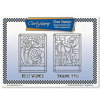 Claritystamp Art Nouveau Merci & Ensemble de timbres Best Wishes