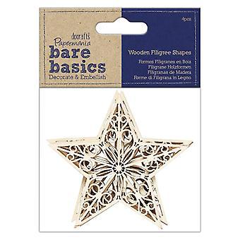 Papermania Bare Basics Wooden Filigree Shapes Star (4pcs) (PMA 174512)