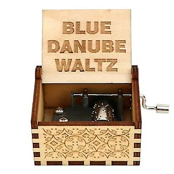 Blue Danube Engraved, Wooden Hand Crank Music Box