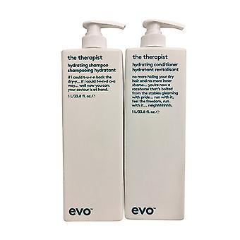 evo De therapeut hydraterende shampoo en conditioner set 33,8 OZ elk