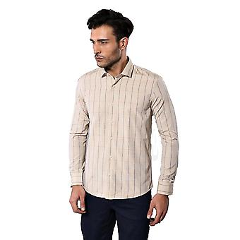 Beige slim fit plaid men's camicia wessi