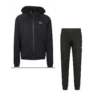 EA7 by Emporio Armani Polyester Black Hooded Tracksuit
