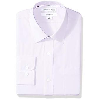 Essentials Men & apos;s Slim-Fit التجاعيد المقاومة للتجاعيد طويلة الأكمام قميص اللباس, L ...