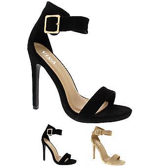 Womens Open teen Strappy nauwelijks er uitgesneden sandalen hoge naaldhak UK 3-10