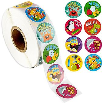 500pcs Reward Stickers- Encouragement Roll  Motivational Stickersfor Kids With Cute Animals For Students Teachers