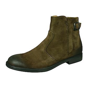 Geox U Wouti A heren Suede lederen Enkellaarsjes/schoenen-Ebony
