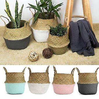 ラタンストロー海草折りたたみハンギングバスケット、植木鉢、ホームガーデン用花瓶
