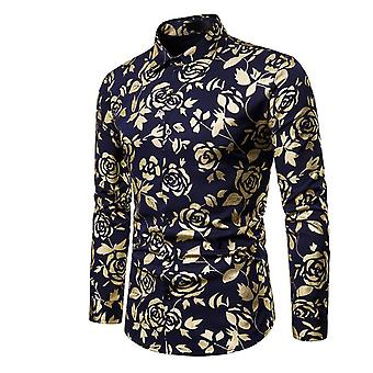 Mens Luxury Gold Rose Print Long Sleeve Slim Fit Button Down Dress Shirt For Party