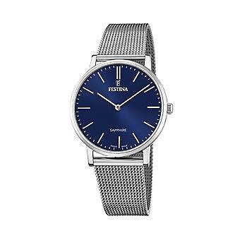 Festina Swiss F20014-2 Men's Swiss Made Blue Dial Mesh Strap Wristwatch