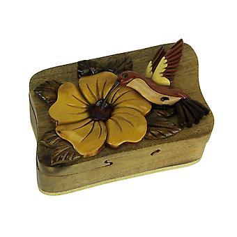 Hand gemachte Holz Kolibri Puzzlebox Schmuckstück