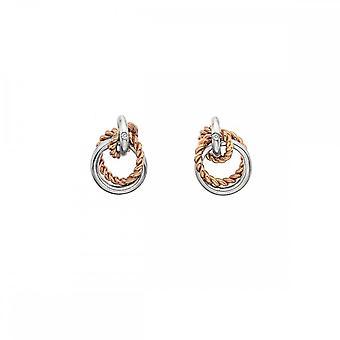 Pendientes círculo de unidad de diamantes calientes Oro rosa DE611