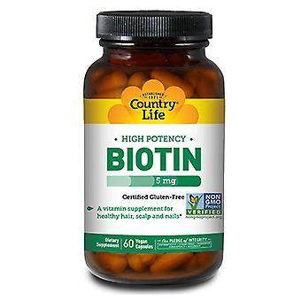 Country Life Biotin High Potency Kasvissyöjä, 5 MG, 60 Korkkia