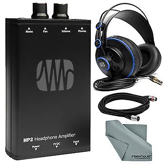 Presonus hp2 personal stereo headphone amplifier and accessory bundle w/ presonus hd7 professional monitoring headphones + fibertique cleaning cloth