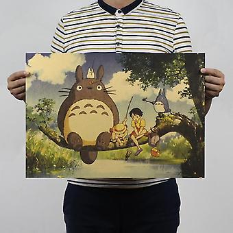 Naapurini Totoro Vintage Kraft Paperi Klassinen Elokuva Juliste Kodin sisustus