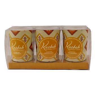 Set Of 3 Kasbah Votive Candles In Jars, Jasmine Fragrance