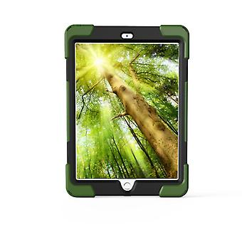 For iPad 9.7 (2018) & iPad 9.7 (2017) 360 Degree Rotation PC + Silicone Protective Case with Holder & Hand-strap (Camouflage Green)