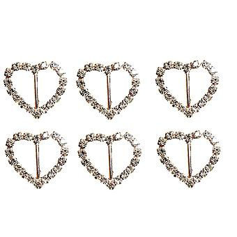 Rose Gold Heart Diamante Rhinestone Ribbon Slider Buckles