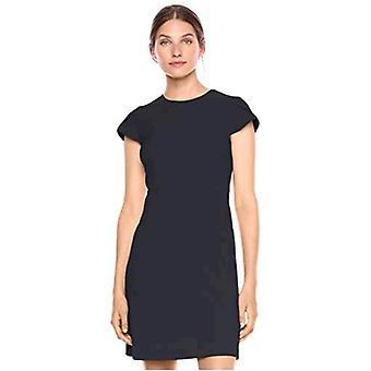 Lærke & Ro Kvinder's Fluid Crepe Tulip Sleeve Dress, Dark Navy 6