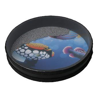 Wave Bead Ocean Drum Percussion Toy with Fish Patton for Child 10 inch