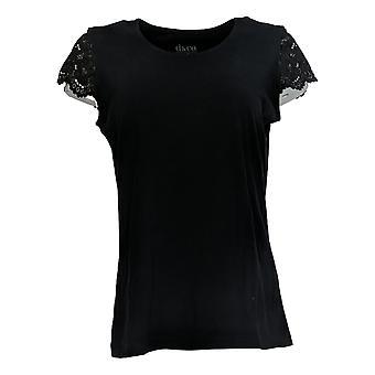 Denim & Co. Women's Top Jersey Scoop Neck W/ Lace Cap Sleeve Black A378174