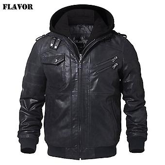 Heren's Real Leather Jacket, Motorcycle Removable Hood Winter Warm Coat
