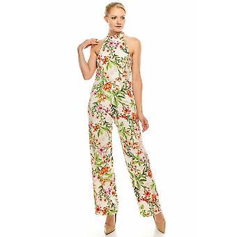 Floral Printed Mock Halter Wide Leg Jumpsuit