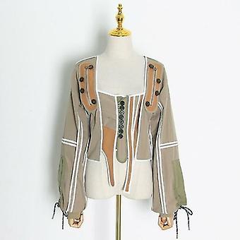 Alkalmi patchwork színes szabálytalan kabát női tér gallér