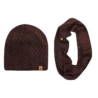تيمبرلاند المرأة كابل متماسكة وشاح Snood قبعة الشتاء مجموعة الأرجواني A13JT 628 A47D